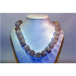 Lady's Fancy  All Natural Stones  White Opal Necklace