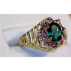 Unisex Antique Style 14 kt Yellow Gold Blueish Green Emerald & Diamond Ring