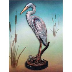 Bronze Sculpture - Blue Heron by D. Scott
