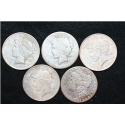 Silver Morgan $1 & Peace $1, Various Dates & Conditions, Low Grade, Lot of 5