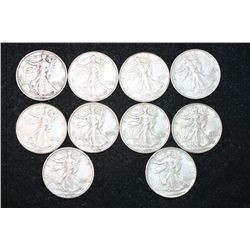 Walking Liberty Half Dollar; Various Dates & Conditions, Lot of 10