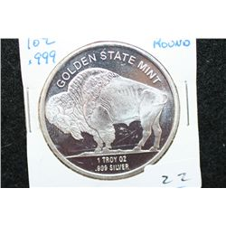 "Golden State Mint ""Buffalo Nickel"" Silver Round; .999 Fine Silver 1 Oz."