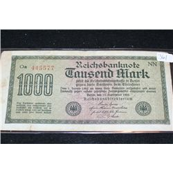 1922 German 1,000 Fausend Mark Foreign Bank Note