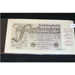 1923 German 500 Funfhundert Millionen Mark Foreign Bank Note