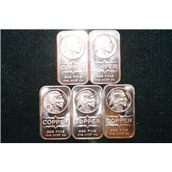 2012 Copper Ingot; .999 Fine Copper 1 Oz., Lot of 5