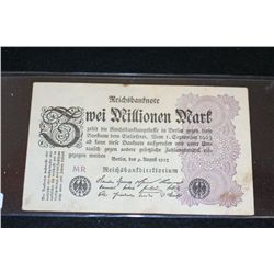 1923 German Zwei Millionen Mark Foreign Bank Note