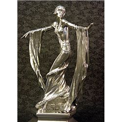 Real Silver Art Deco Chiparus Sculpture -Diva Dancer