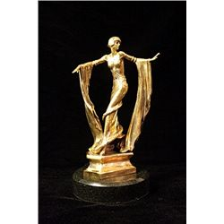 Original Limited Edition 24K Gold Layered Bronze  Art Deco Chiparus Sculpture -Diva Dancer
