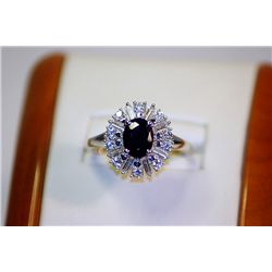 Lady's Very Fancy Silver  Ballerina Ring  Blue Sapphire & Diamond Ring
