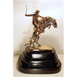 Remington Limited Edition 24K Gold Layered Bronze  Sculpture   -Bronco Buster