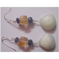Natural 55.80 ctw Semi Precious Earring .925 Sterling