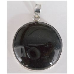 Natural 56.85 ct Black Onex Round Pendant .925 Sterling