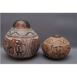 TWO PERUVIAN GOURDS