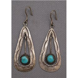PAIR OF NAVAJO SILVER EARRINGS