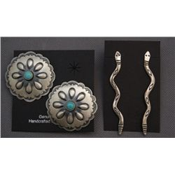 TWO PAIR OF NAVAJO SILVER EARRINGS