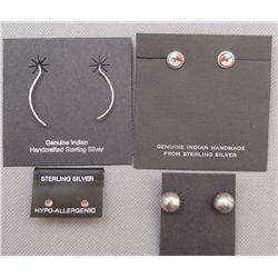 FOUR PAIRS OF SILVER EARRING'S