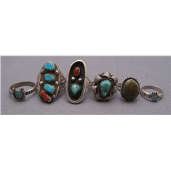 SIX NAVAJO SILVER RINGS