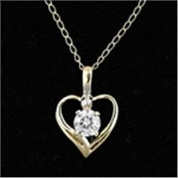 Gold Heart Pendant and Chain CZ Solitaire Necklace