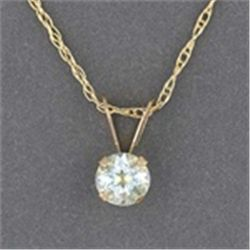 Aquamarine Solitaire 10K Gold Necklace