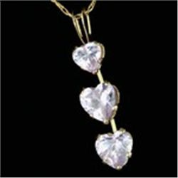 3 Lavender Heart CZ 10K Gold Necklace