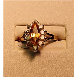 Ladies Fancy Golden Sapphire and Diamond Ring