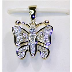 Lady's Stylish Sterling Silver  Butterfly  Diamond Pendant