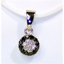 Lady's Fancy Sterling Silver Black &amp; White Diamond Pendant