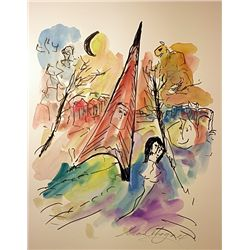 After Chagall Original Watercolor on Paper