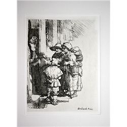 A. Durand Rembrandt - Beggars Receiving Alms - Etching