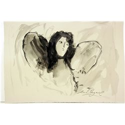 Original Watercolor on Paper After Chagall - Angel