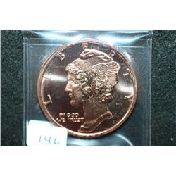 2012  Mercury Dime  Copper Round; .999 Fine Copper 1 Oz.