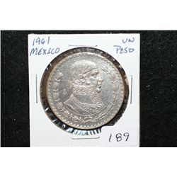 1961 Mexico Un Peso Foreign Coin