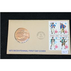 1975 Paul Revere American Revolution Bicentennial Commerative First Day Cover Medal W/Postal Stamps