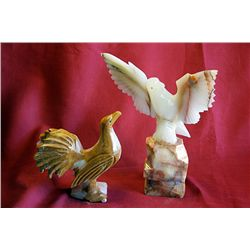 Original Hand Carved Marble  Roosters & Eagles  by G. Huerta