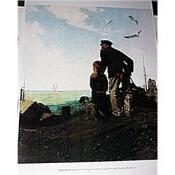 Norman Rockwell Lithograph-Looking Out to Sea