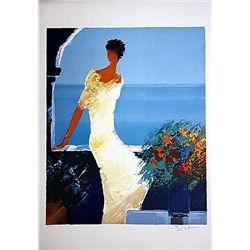 Emile Bellet Hand Signed and Numbered Serigraph - Sur la Terrasse Fleurie