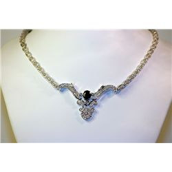 Lady's 14 kt White Gold Blue Sapphire/Diamond Necklace