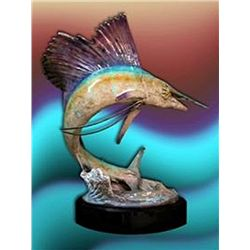 Bronze Sculpture - Fish On by J. Townsend