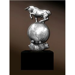 Original Fine Silver Sculpture - Bear and Bull by DeLier