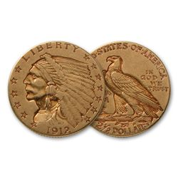 $ 2.5 Gold Indian Random Date