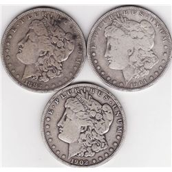 Lot of (3) Morgan Silver Dollars-