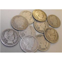 Lot of 10 Barber Halves- Various Circulated Dates