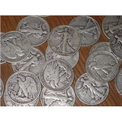 Lot of 20 Walking Liberty Halves 1930-40's