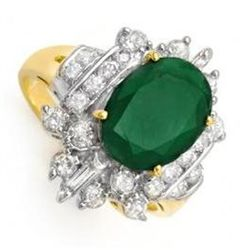 4.0 ctw Emerald &amp; Diamond Ring 14K Yellow Gold