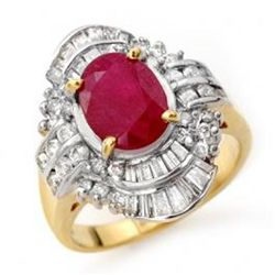 4.58 ctw Ruby & Diamond Ring 14K Yellow Gold