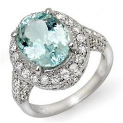 4.5 ctw Aquamarine & Diamond Ring 14K