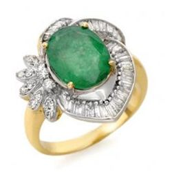 4.2 ctw Emerald & Diamond Ring 14K Yellow Gold