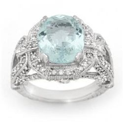 6.50 ctw Aquamarine &amp; Diamond Ring 14K