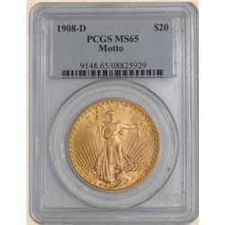 1908-D $20 St. Gaudens MS65 PCGS with Motto