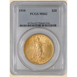 1910 $20 St. Gaudens MS62 PCGS